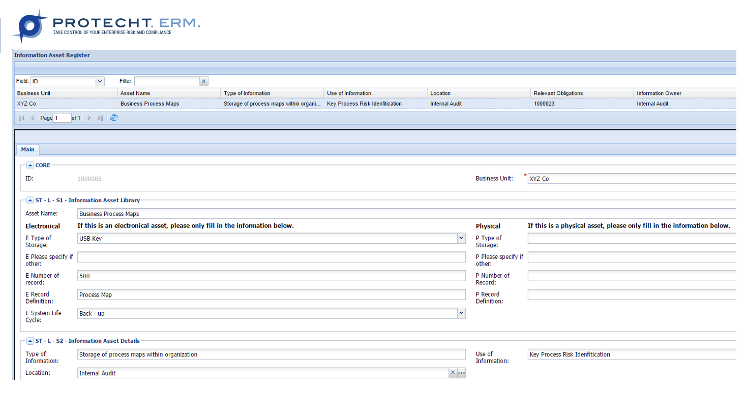 Example of an Information Asset Register