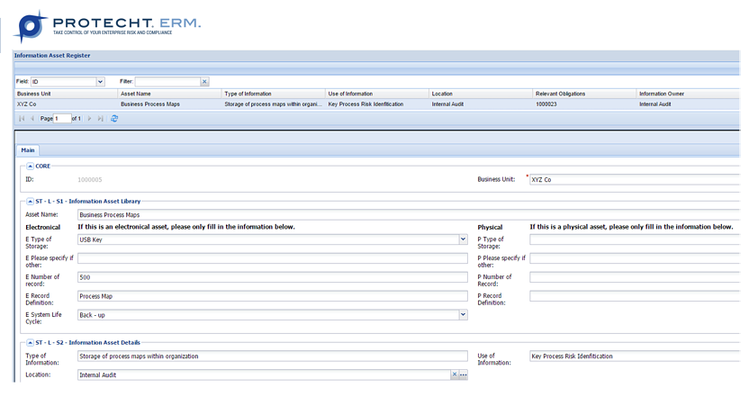Example of an Information Asset Register