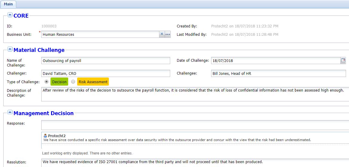 Protecht.ERM Risk Management. Challenge Register